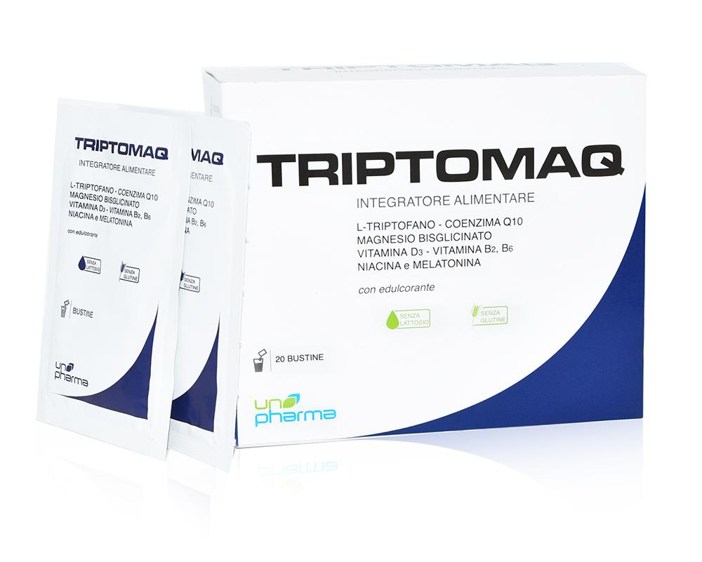 TRIPTOMAQ è un integratore alimentare a base di L-Triptofano, Magnesio chelato, Coenzima Q10, Vitamina D3, Vitamina B2, Vitamina B6, Niacina e Melatonina, ed è indicato in caso di aumentato fabbisogno o scarso apporto con la dieta di tali nutrienti.  L-Triptofano è un aminoacido essenziale, ovvero non è prodotto in maniera endogena e di conseguenza deve essere per forza introdotto con la dieta; inoltre rappresenta in media solo l'1% degli aminoacidi assunti, perciò la sua concentrazione può essere spesso deficitaria a livello ematico.  L-Triptofano è l'unico precursore per la sintesi endogena della serotonina, mediatore chimico che regola il tono dell'umore, e della melatonina, ormone prodotto dalla ghiandola pineale, la cui attività è fondamentale in varie fasi del sonno, soprattutto durante le fasi REM (Rapid Eyes Movement).  Il Coenzima Q10 partecipa attivamente alla prodizione di ATP a livello mitocondriale.  TRIPTOMAQ apporta un elevato dosaggio di magnesio chelato (bisglicinato); questa particolare tecnica farmaceutica permette di massimizzarne l'assorbimento, evitando problematiche gastroenteriche tipiche degli integratori di questo minerale. Il magnesio e lavitamina D3 contribuiscono alla normale funzione muscolare.  Il magnesio assieme alla niacina e alla vitamina B2 e alla vitamina B6 contribuisce al normale funzionamento del sistema nervoso e alla riduzione della stanchezza e dell'affaticamento